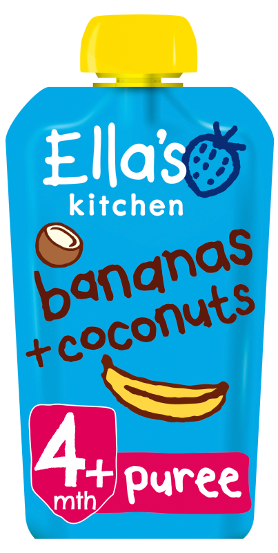 Ellas Kitchen bananas coconuts pouch front of pack O