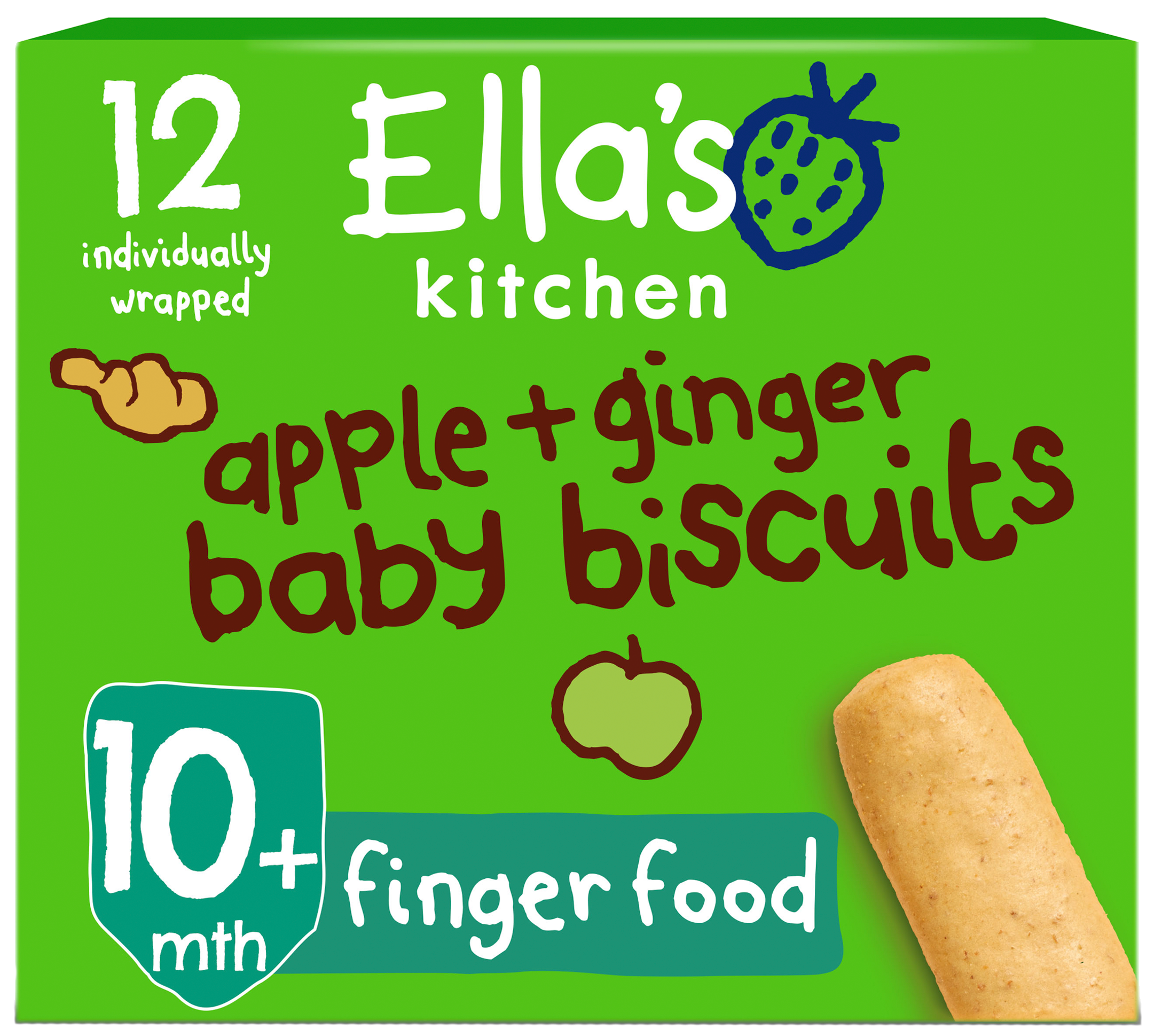 Ellas kitchen apple ginger biscuits box front of pack O