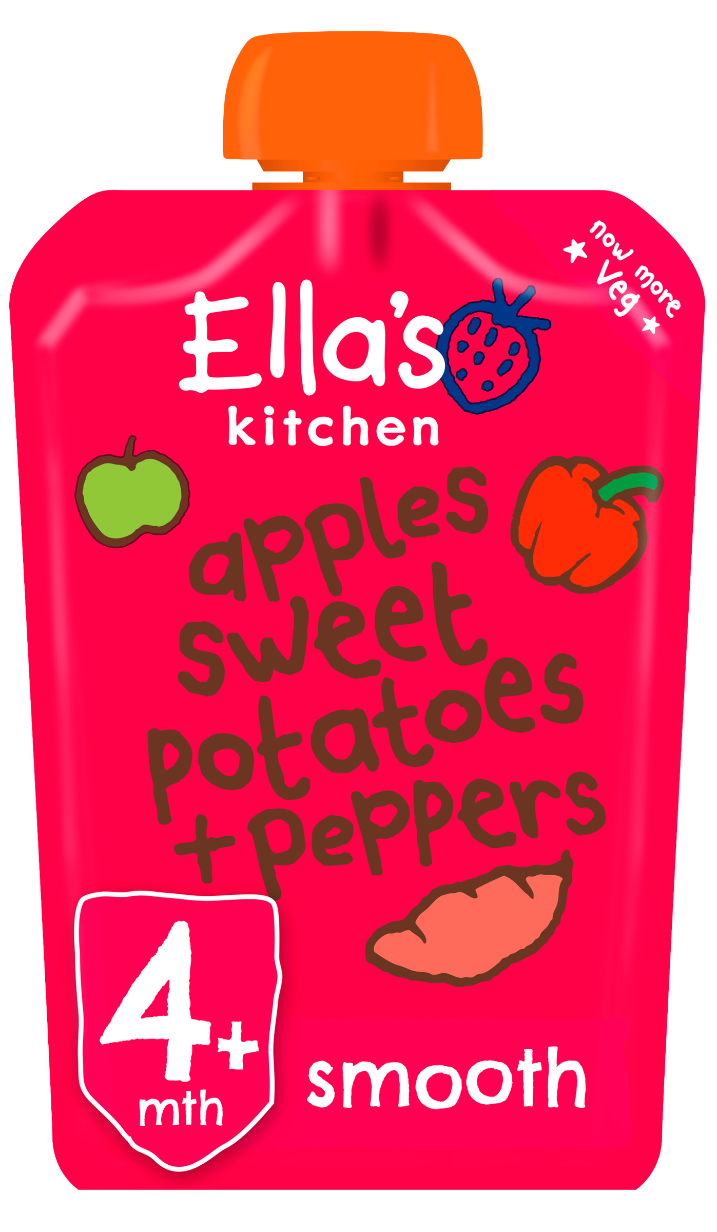 Ellas kitchen apples sweetpotatoes peppers pouch front of pack O