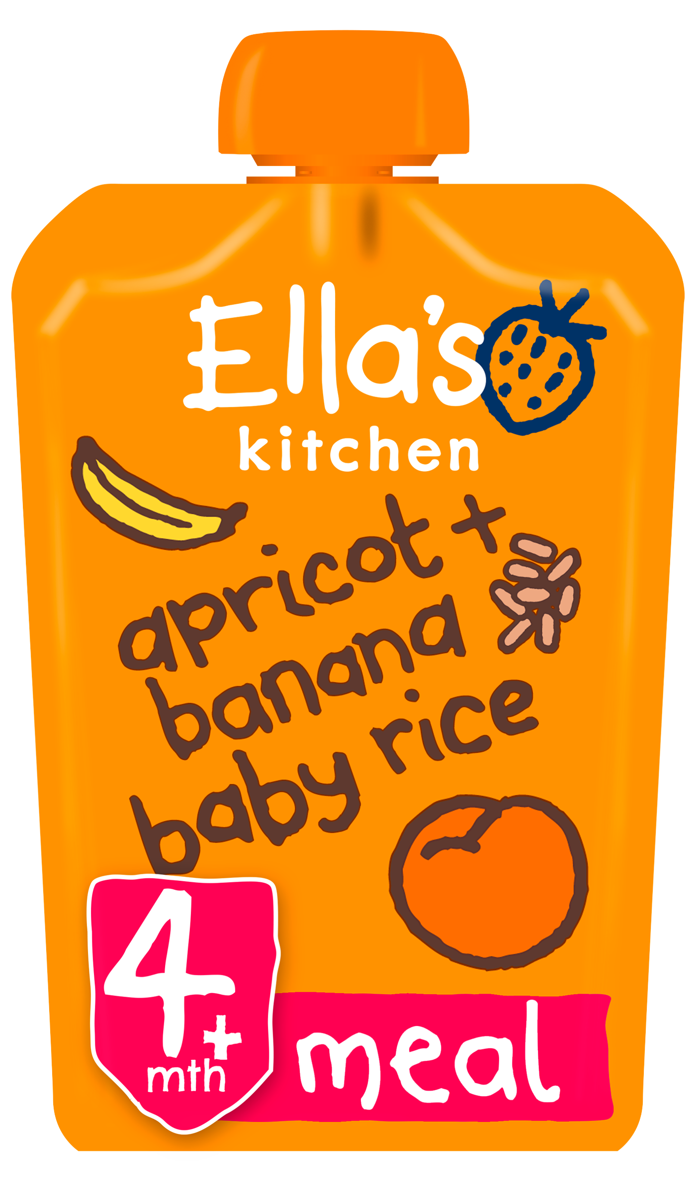 Ellas kitchen apricot banana baby rice pouch front of pack O