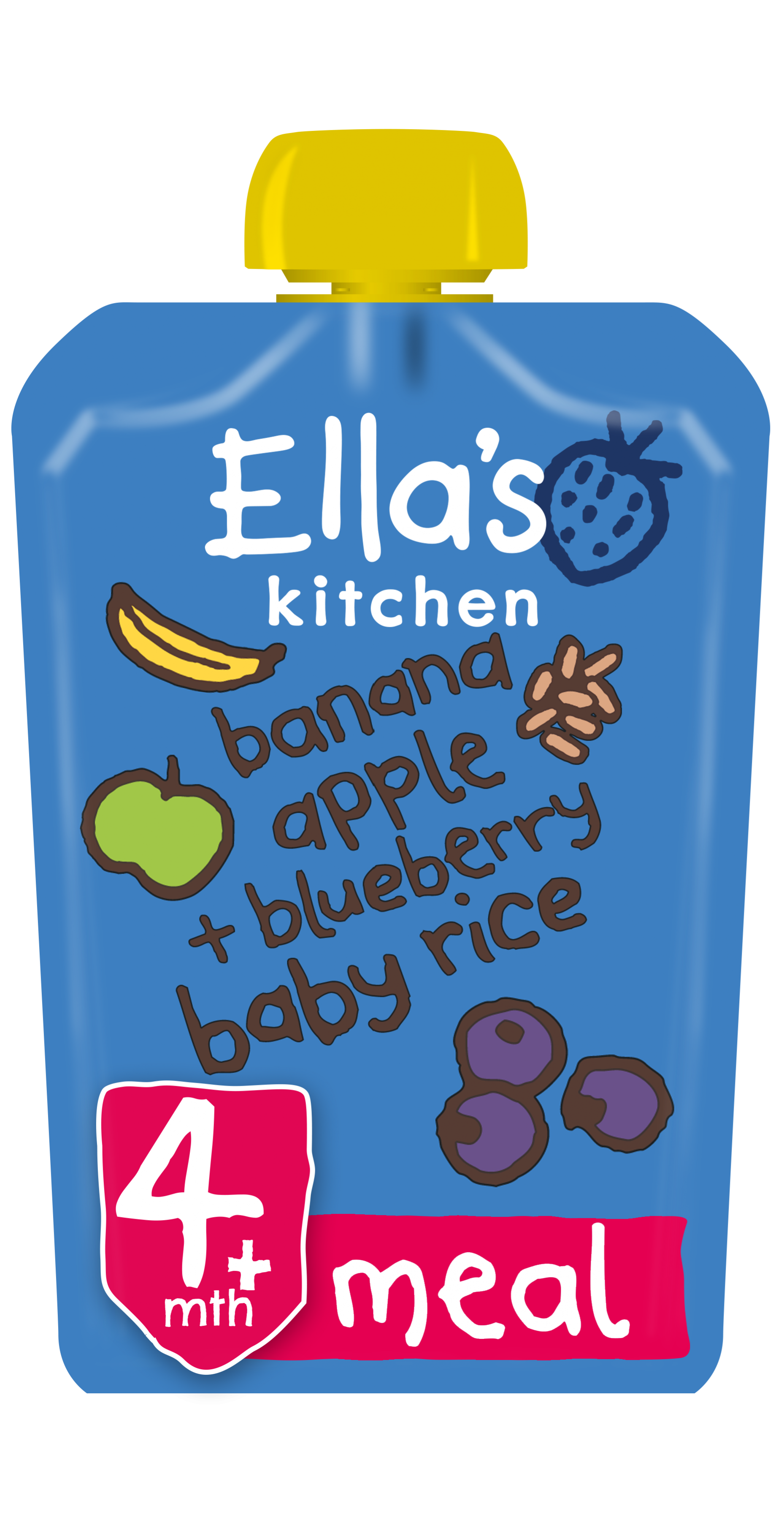 Ellas kitchen banana apple blueberry baby rice pouch front of pack O