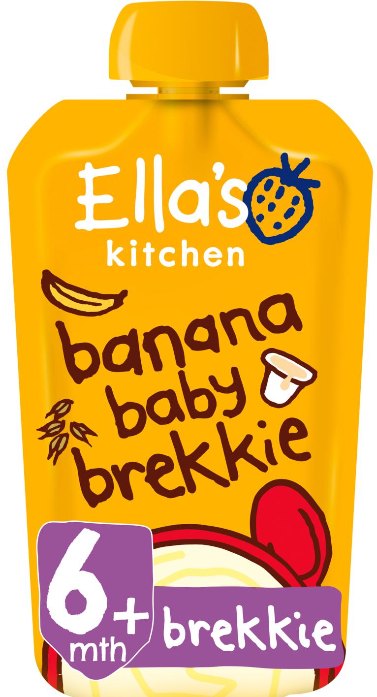 Ellas kitchen banana baby brekkie pouch front of pack O