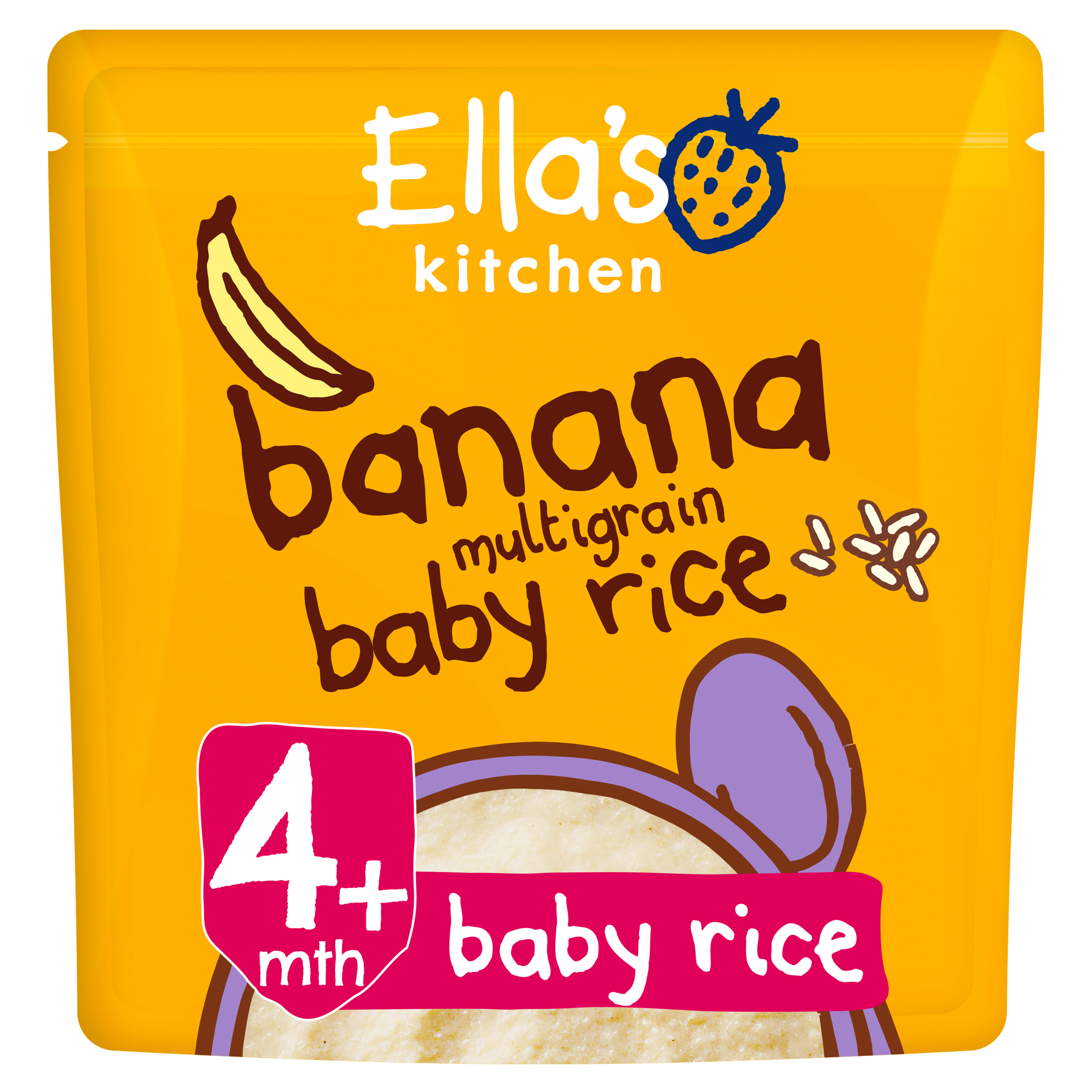Ellas kitchen banana multigrain baby rice pouch front of pack O