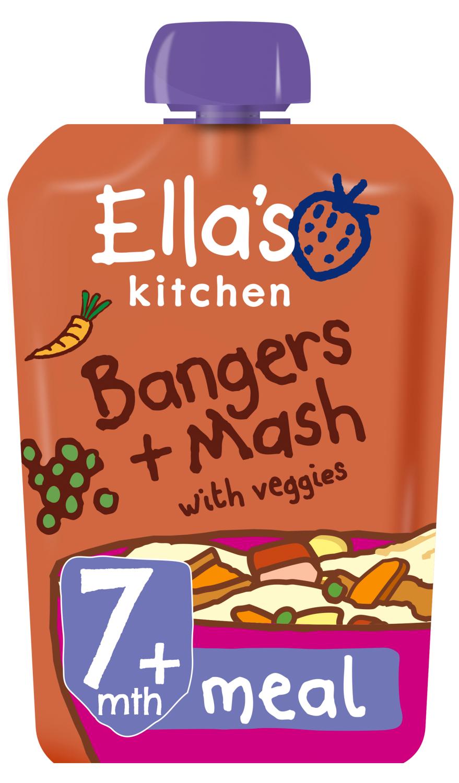 Ellas kitchen bangers mash veggies pouch 7 months front of pack O