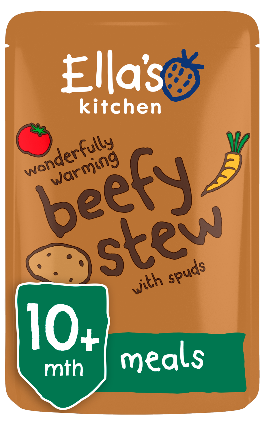 Ellas kitchen beefy stew spuds pouch 10 months front of pack O
