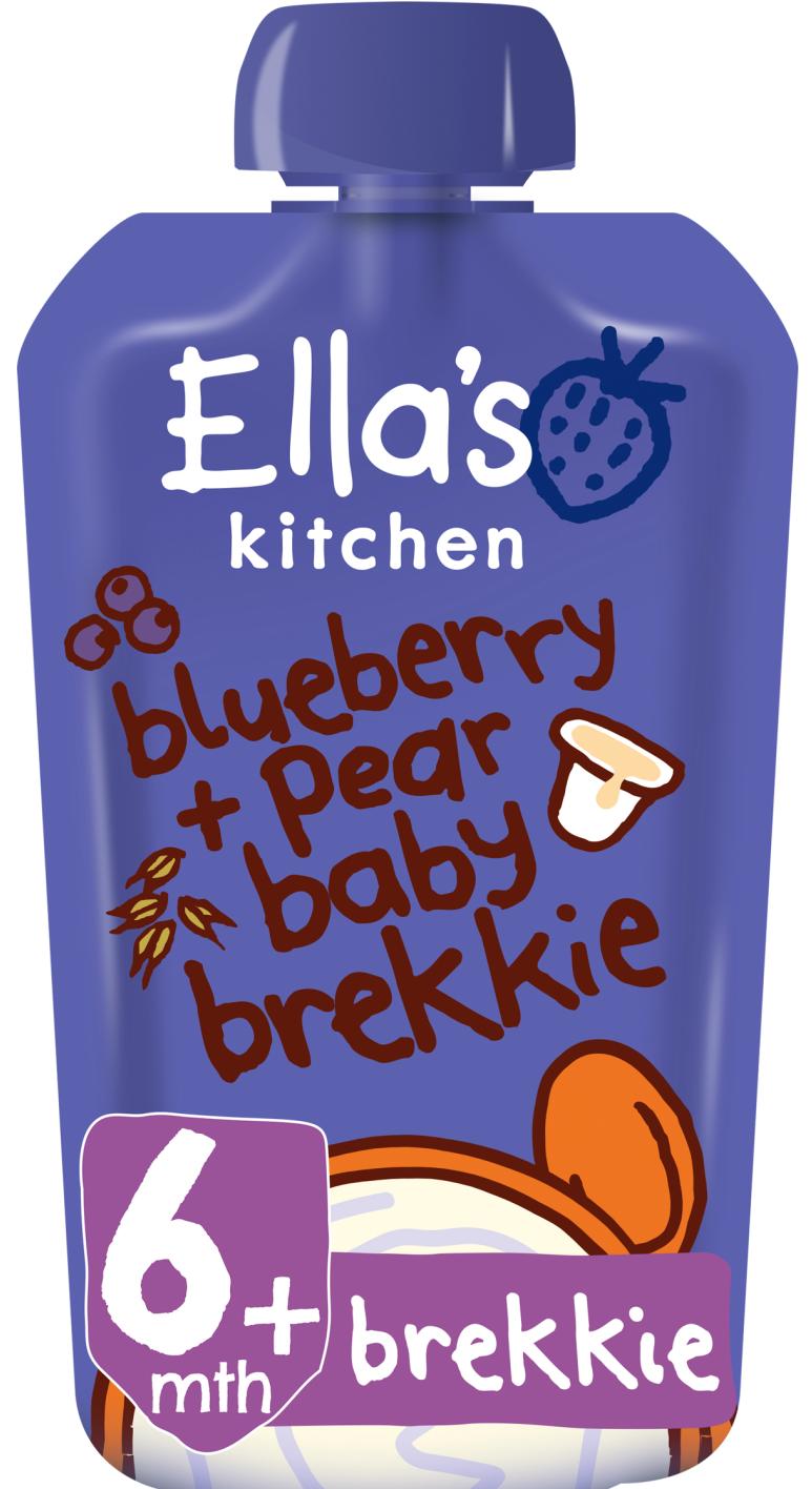 Ellas kitchen blueberry pear baby brekkie pouch front of pack O