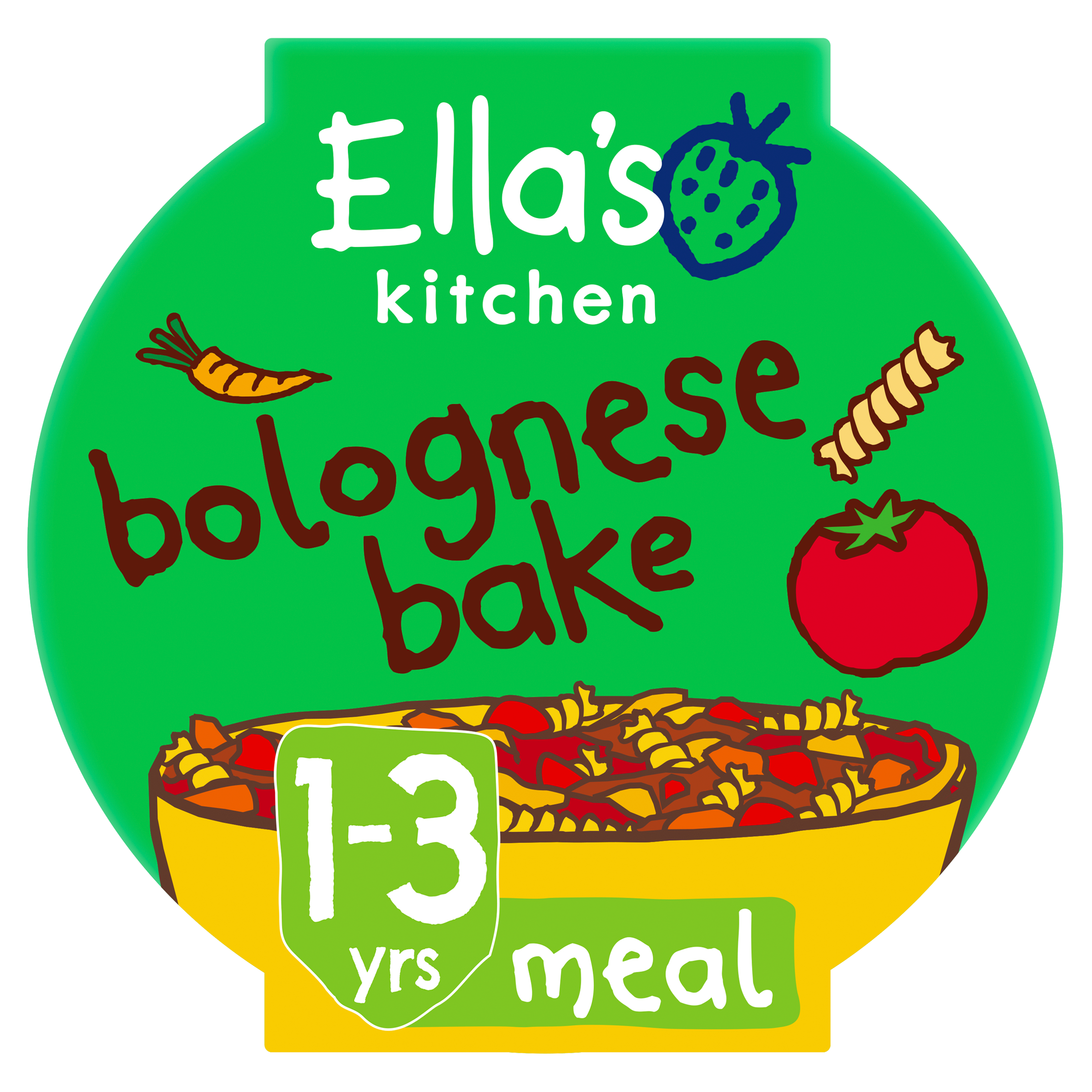 Ellas kitchen bolognese bake pot 1 3 years front of pack O