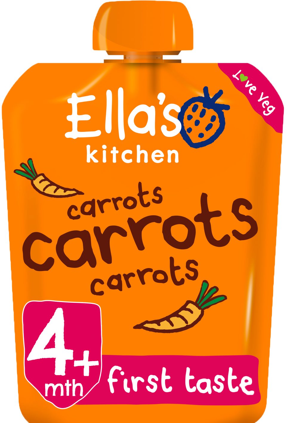 Ellas kitchen carrots carrots carrots pouch front of pack O
