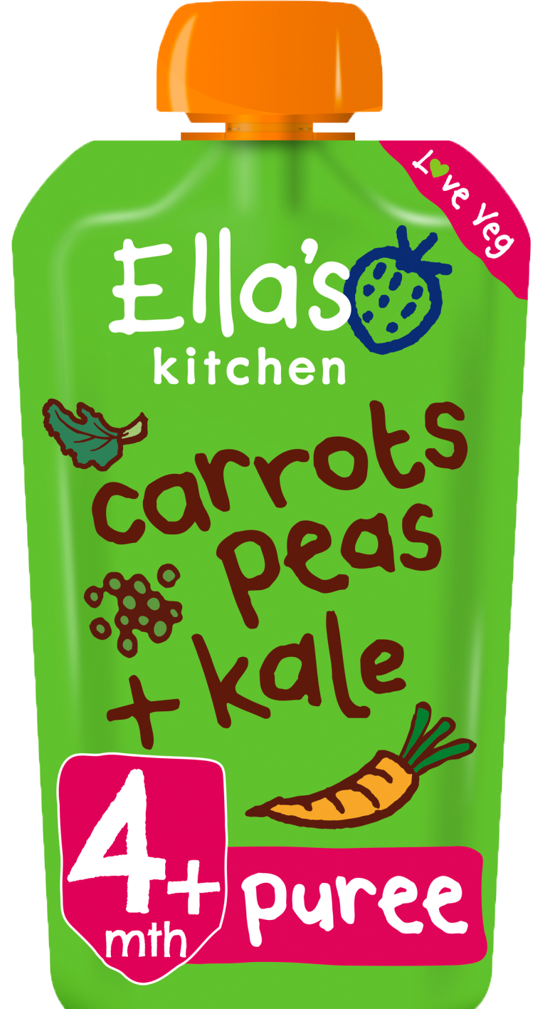 Ellas kitchen carrots peas kale pouch front of pack O