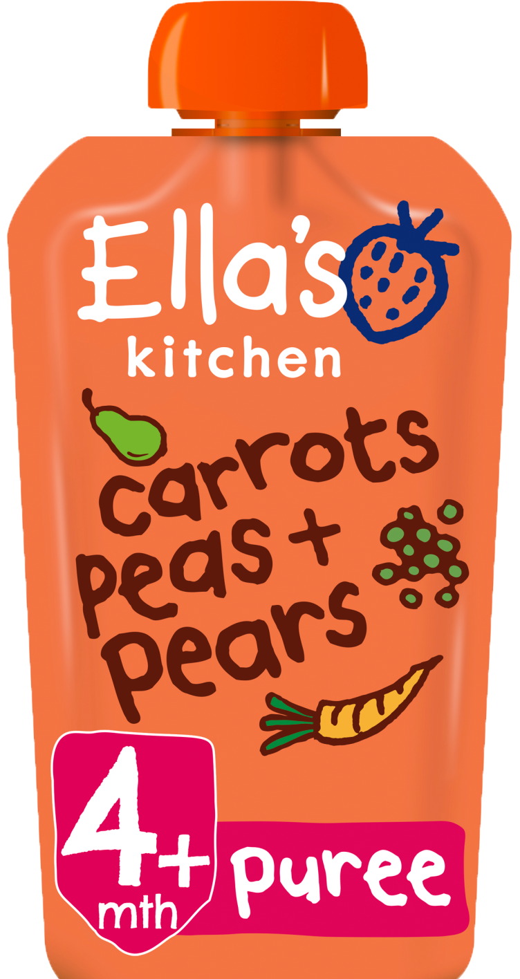 Ellas kitchen carrots peas pears pouch front of pack O