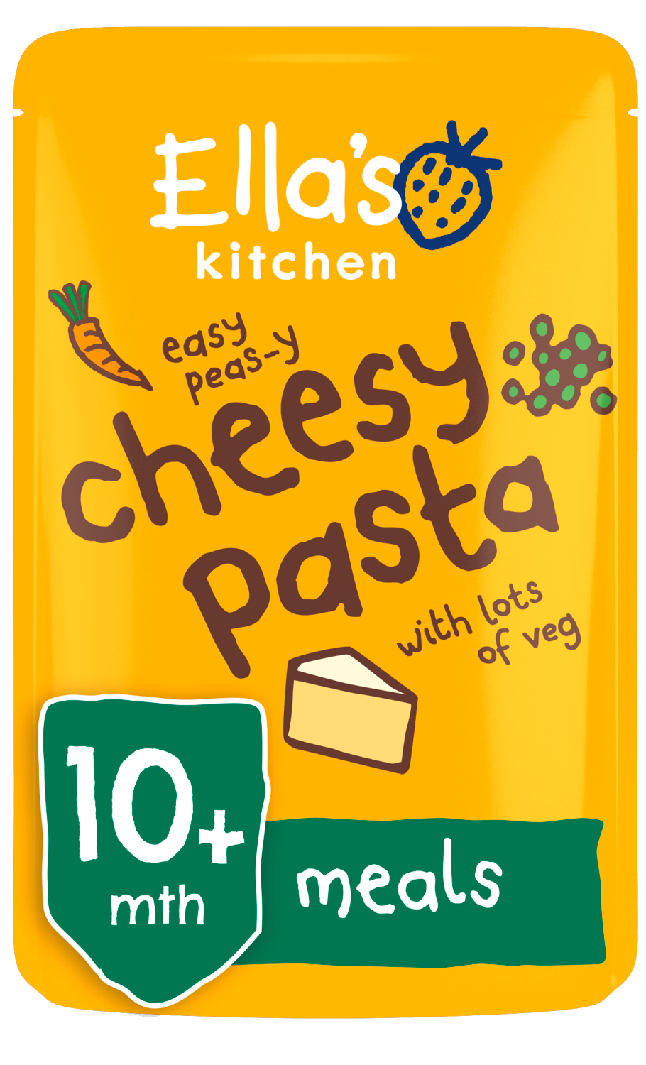 Ellas kitchen cheesy pasta veg pouch 10 months front of pack O