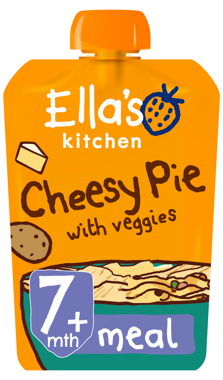 Ellas kitchen cheesy pie veggies pouch 7 months front of pack O