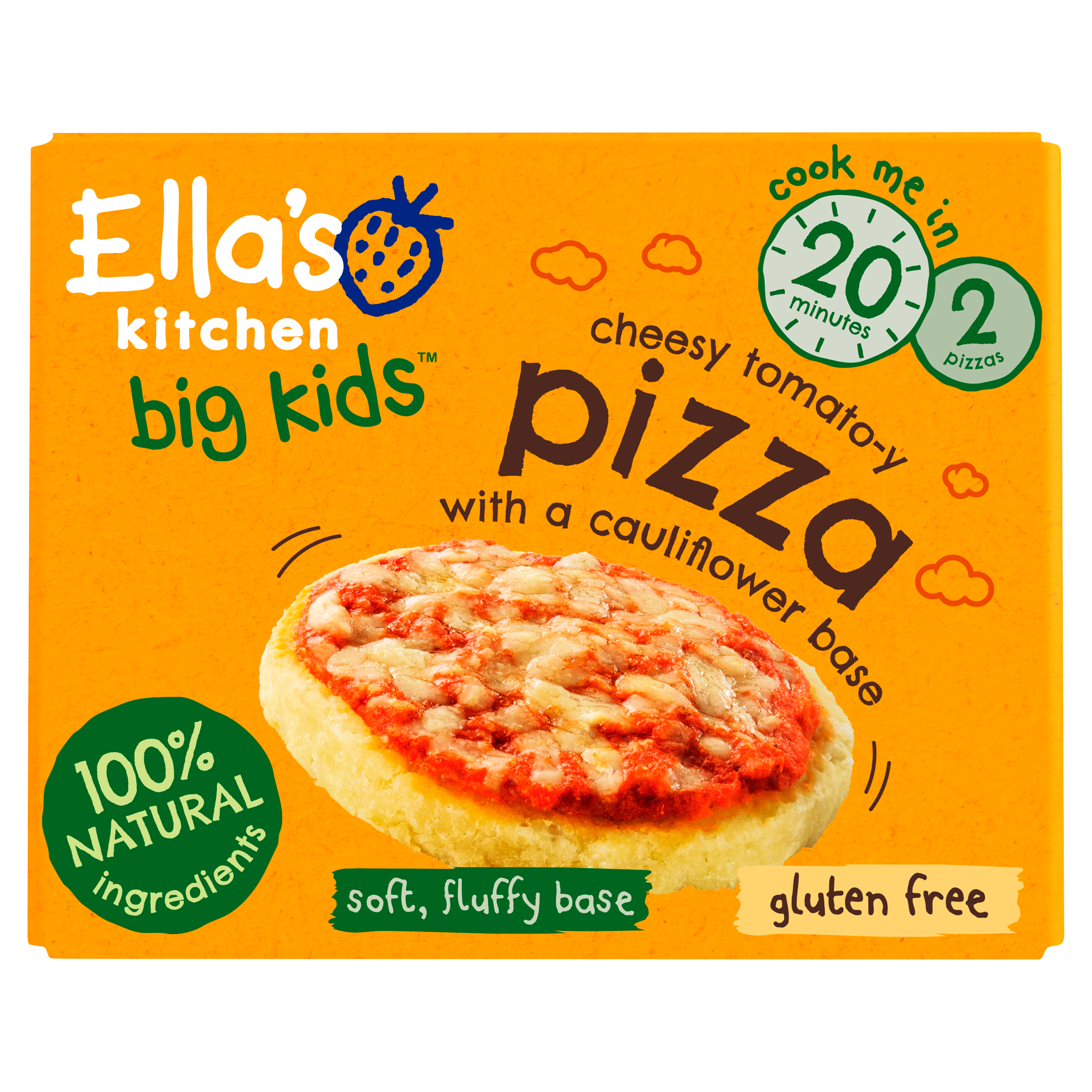 Ellas kitchen cheesy tomatoy pizza frozen Front of pack O