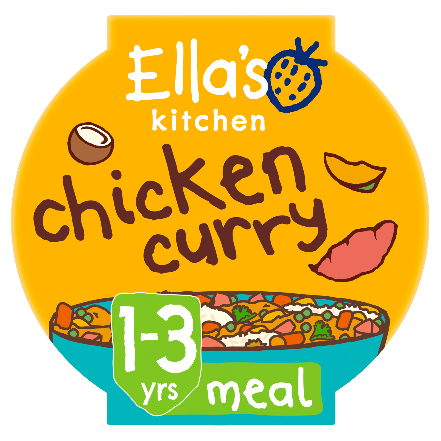 Ellas kitchen chicken curry pot 1 3 years front of pack O