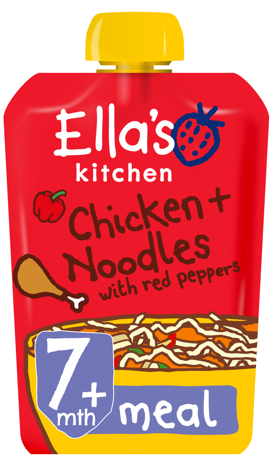 Ellas kitchen chicken noodles red peppers pouch 7 months front of pack O
