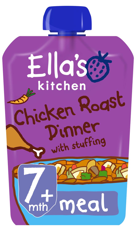 Ellas kitchen chicken roast dinner stuffing pouch 7 months front of pack O