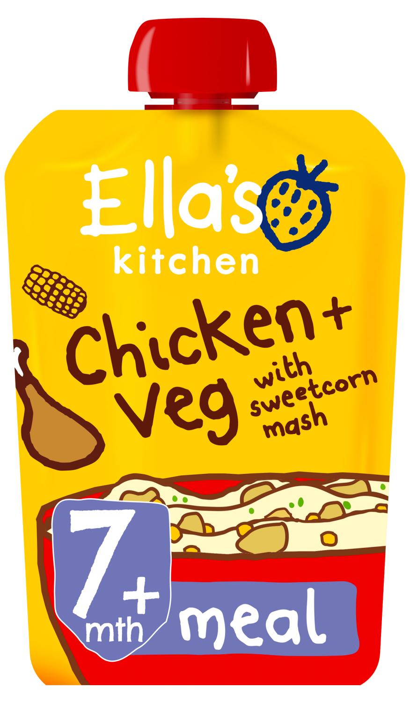 Ellas kitchen chicken veg sweetcorn mash pouch 7 months front of pack O