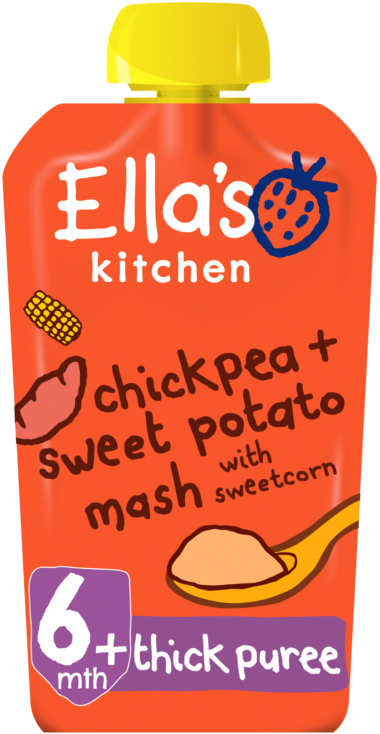 Ellas kitchen chickpea sweetpotato mash sweetcorn pouch front of pack O