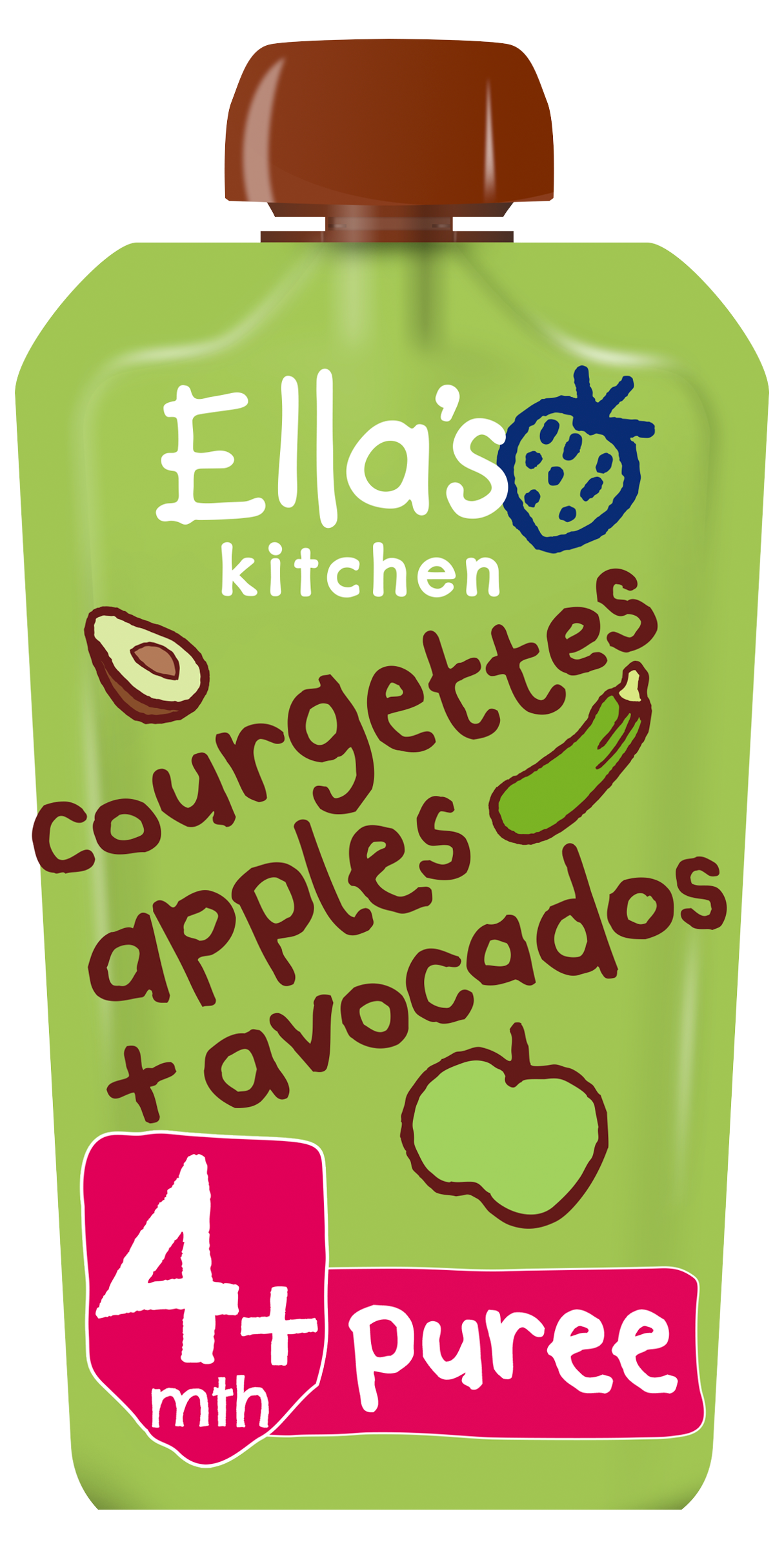 Ellas kitchen courgettes apples avocados pouch front of pack O