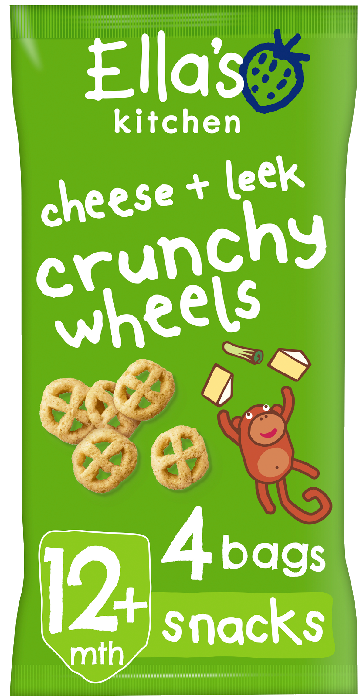 Ellas kitchen crunchy wheels cheese leek bag front of pack O