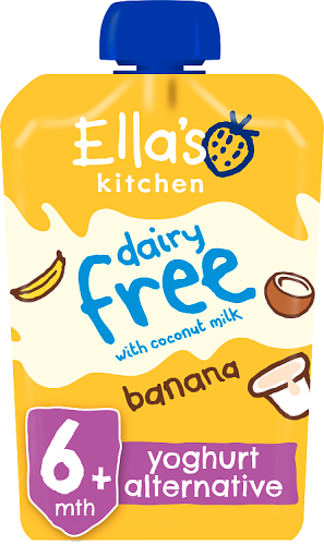 Ellas kitchen dairy free coconut milk banana pouch 6 months front of pack O