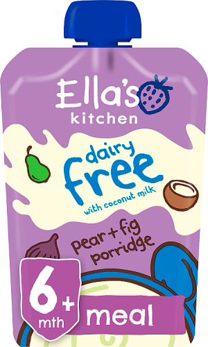 Ellas kitchen dairy free coconut milk pear fig pouch 6 months front of pack O