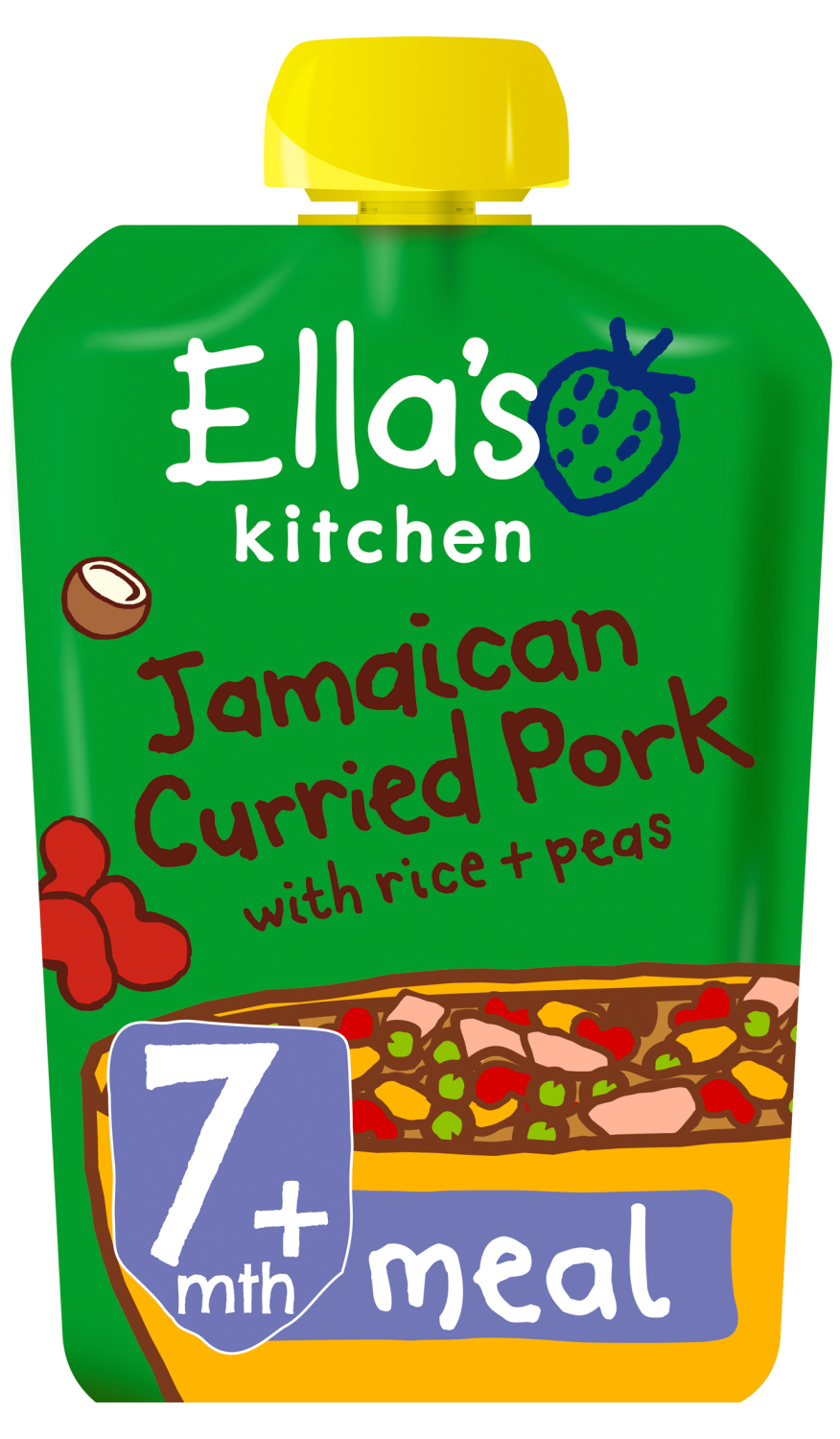 Ellas kitchen jamaican curried pork rice peas pouch 7 months front of pack O