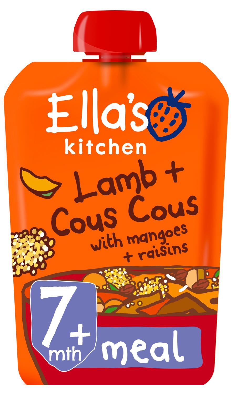 Ellas kitchen lamb cous cous mangoes raisins pouch 7 months front of pack O