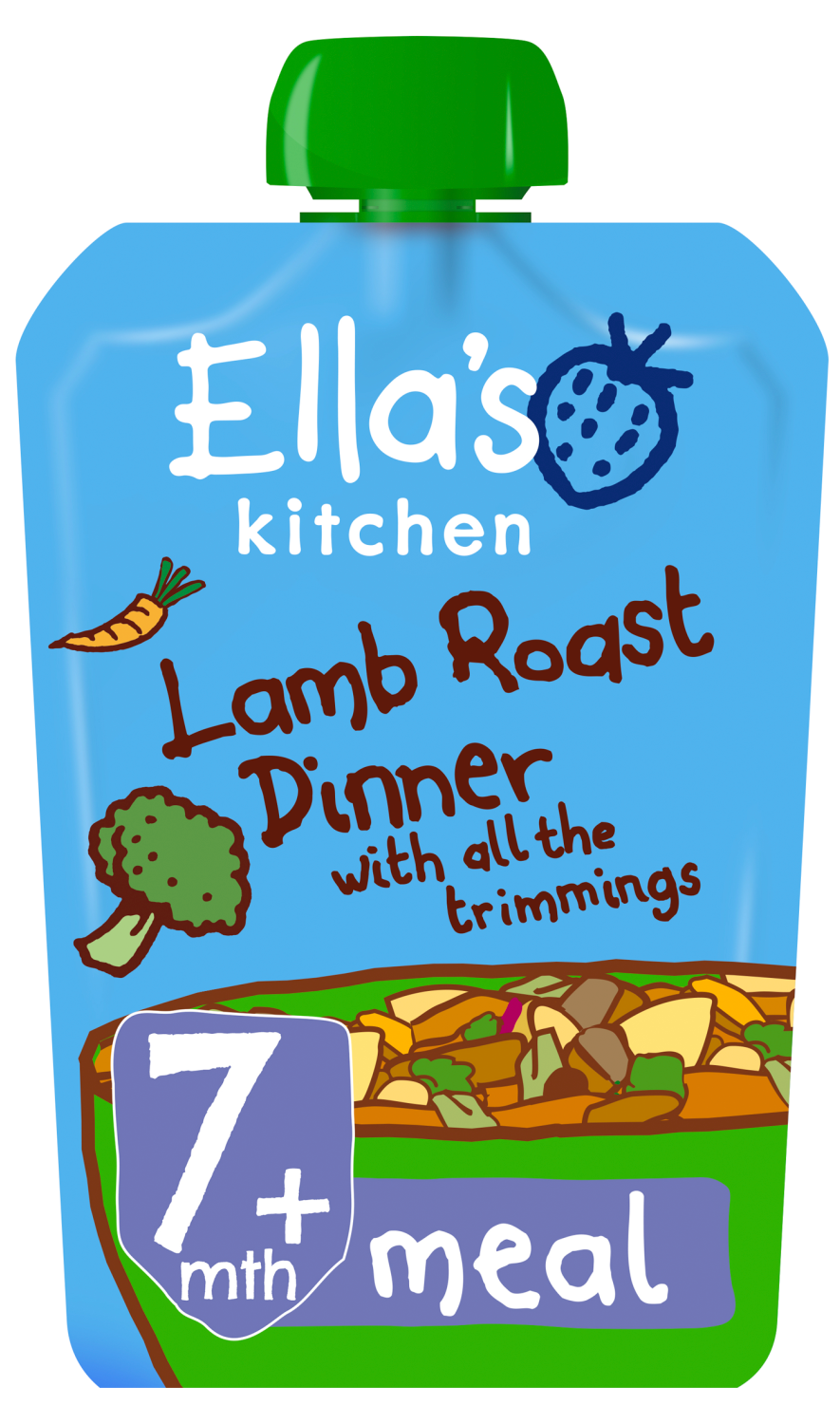 Ellas kitchen lamb roast dinner trimmings pouch 7 months front of pack O