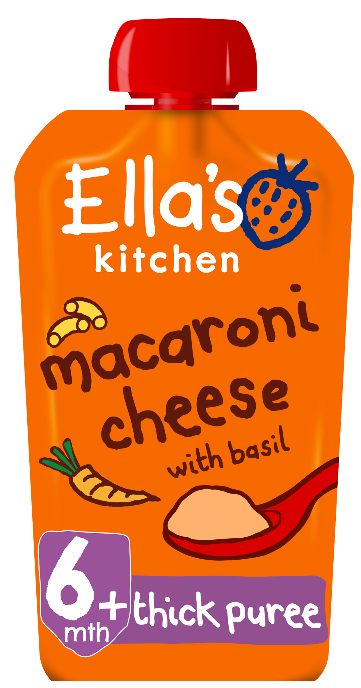 Ellas kitchen macaroni cheese basil pouch front of pack O