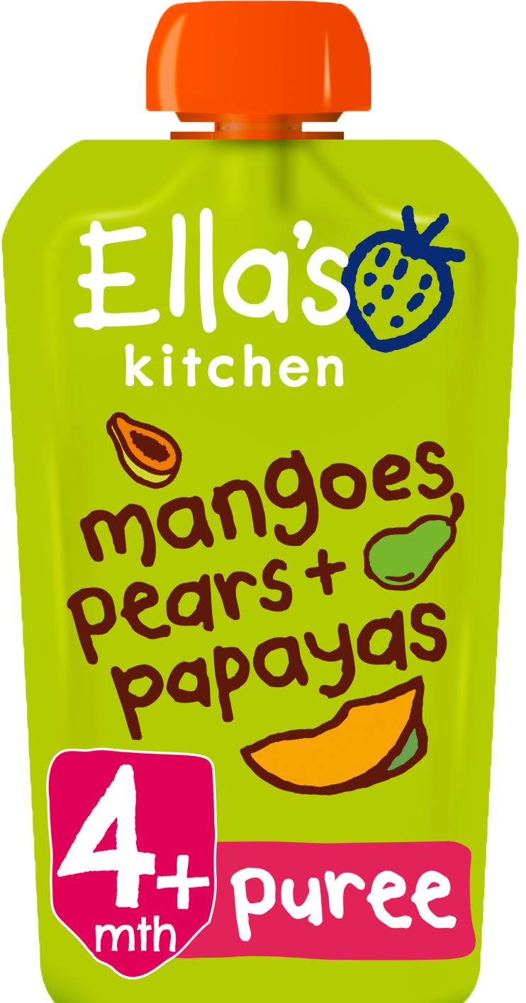 Ellas kitchen mangoes pears papayas pouch front of pack O