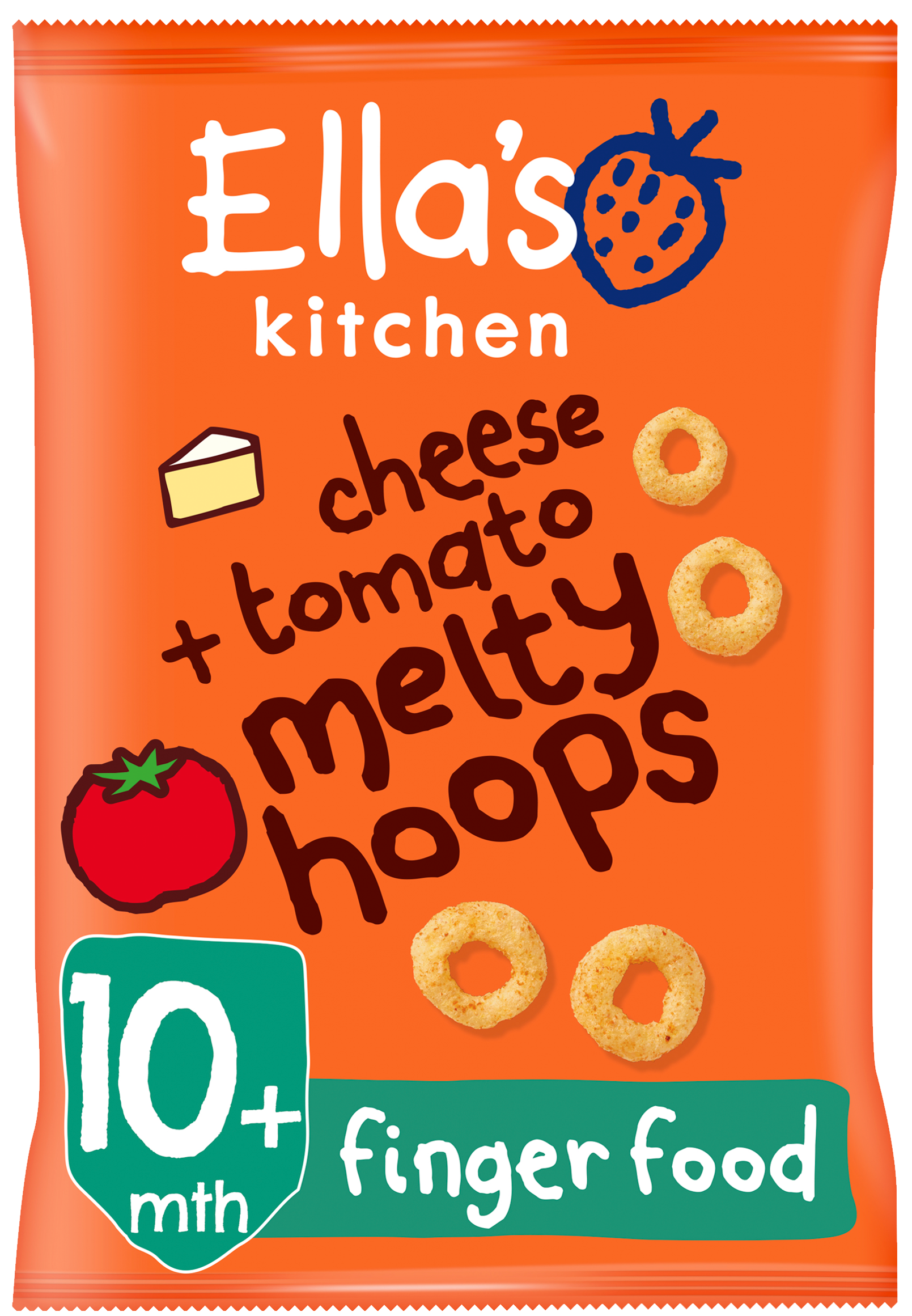 Ellas kitchen melty hoops cheese tomato bag front of pack O