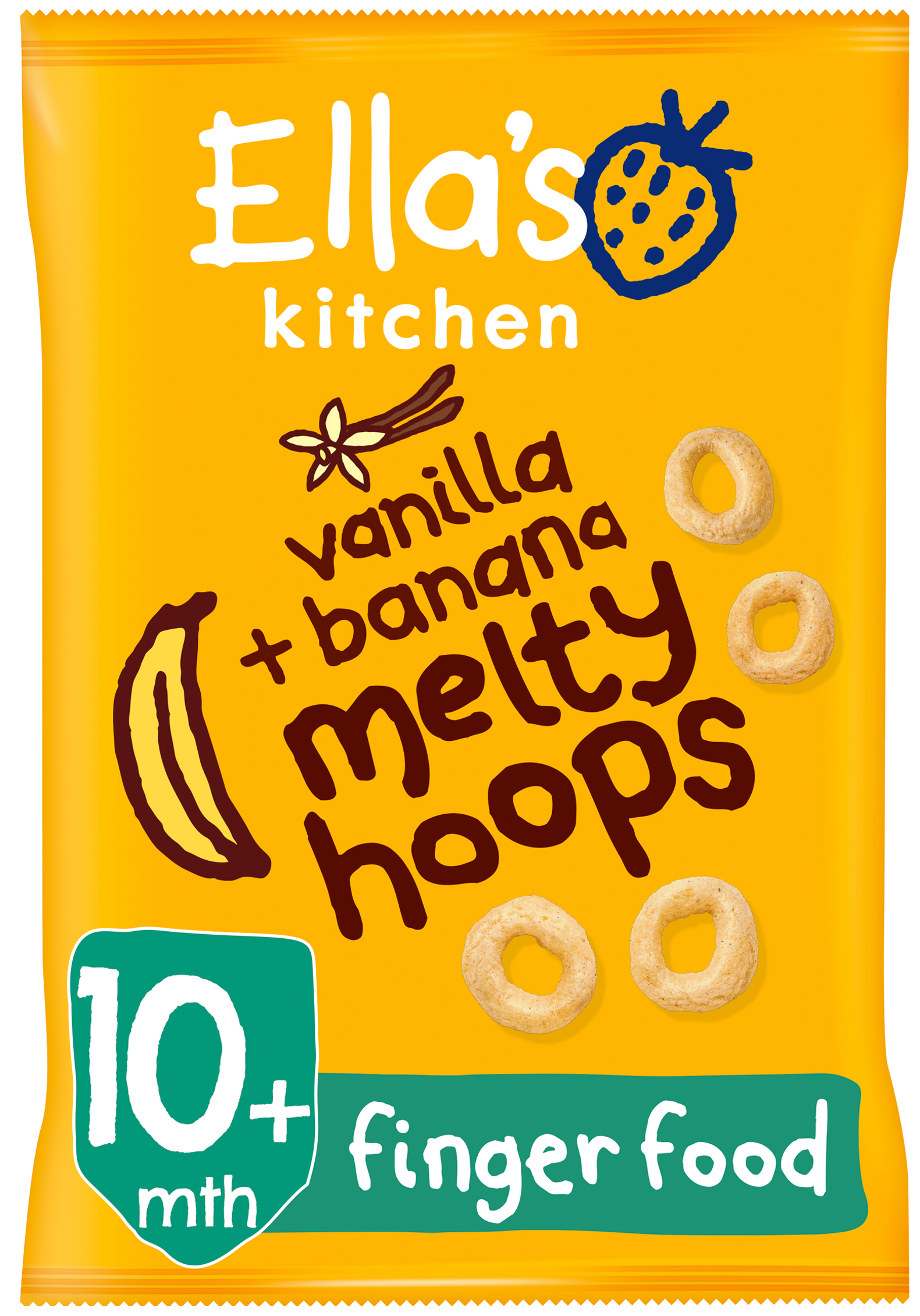 Ellas kitchen melty hoops vanilla banana bag front of pack O