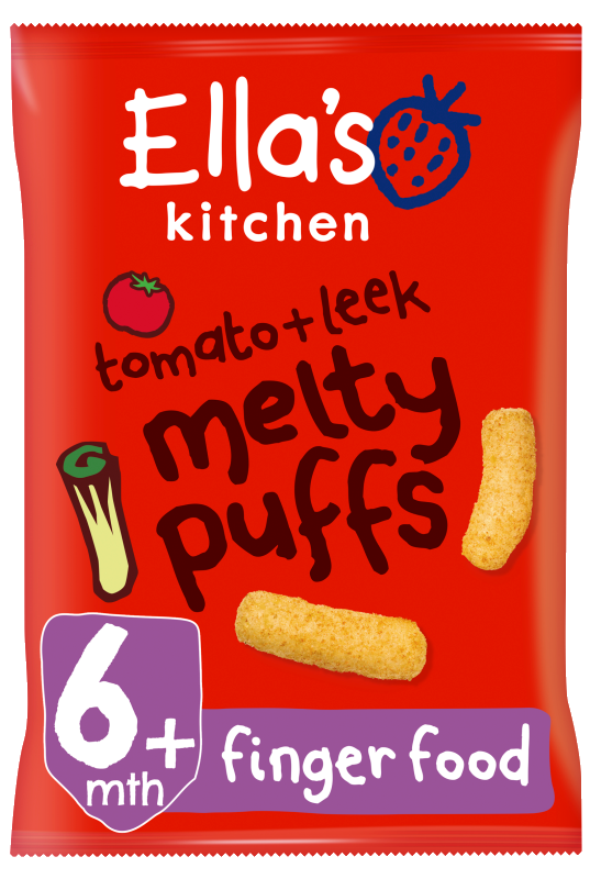 Ellas kitchen melty puffs tomato leek bag front of pack O