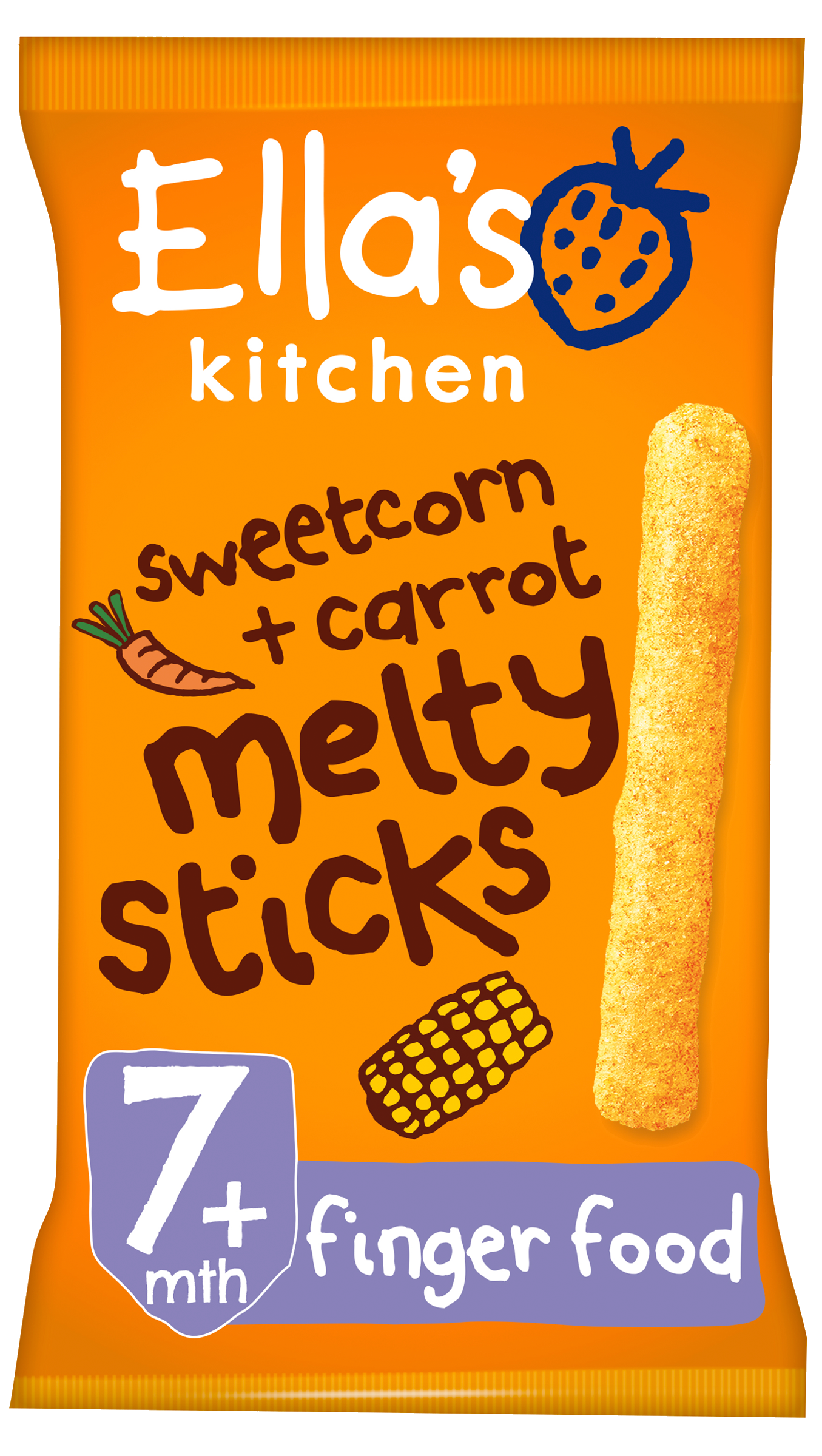 Ellas kitchen melty sticks sweetcorn carrot bag front of pack O