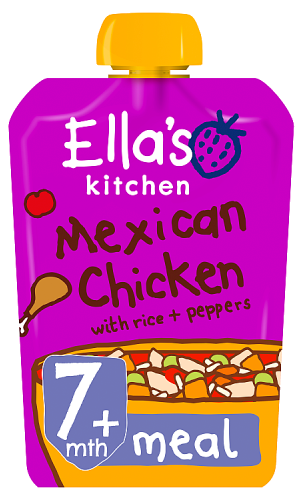 Ellas kitchen mexican chicken rice peppers pouch 7 months front of pack O