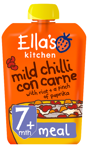 Ellas kitchen mild chilli con carne rice paprika pouch 7 months front of pack O