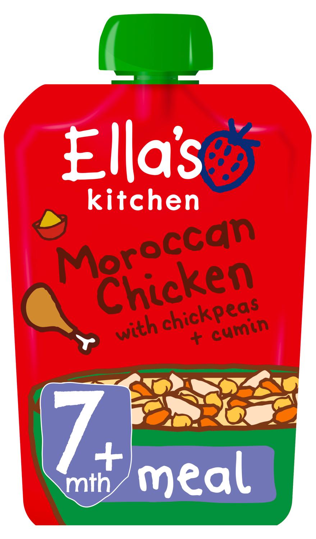 Ellas kitchen moroccan chicken chickpeas cumin pouch 7 months front of pack O