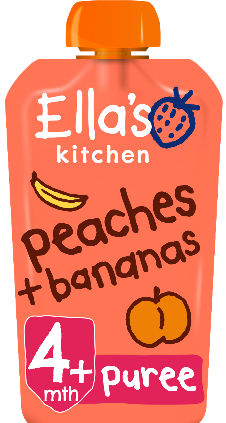 Ellas kitchen peaches bananas pouch front of pack O