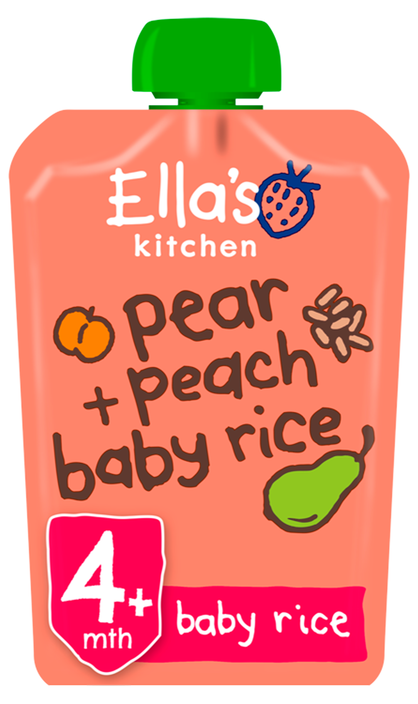 Ellas kitchen pear peach baby rice pouch front of pack O