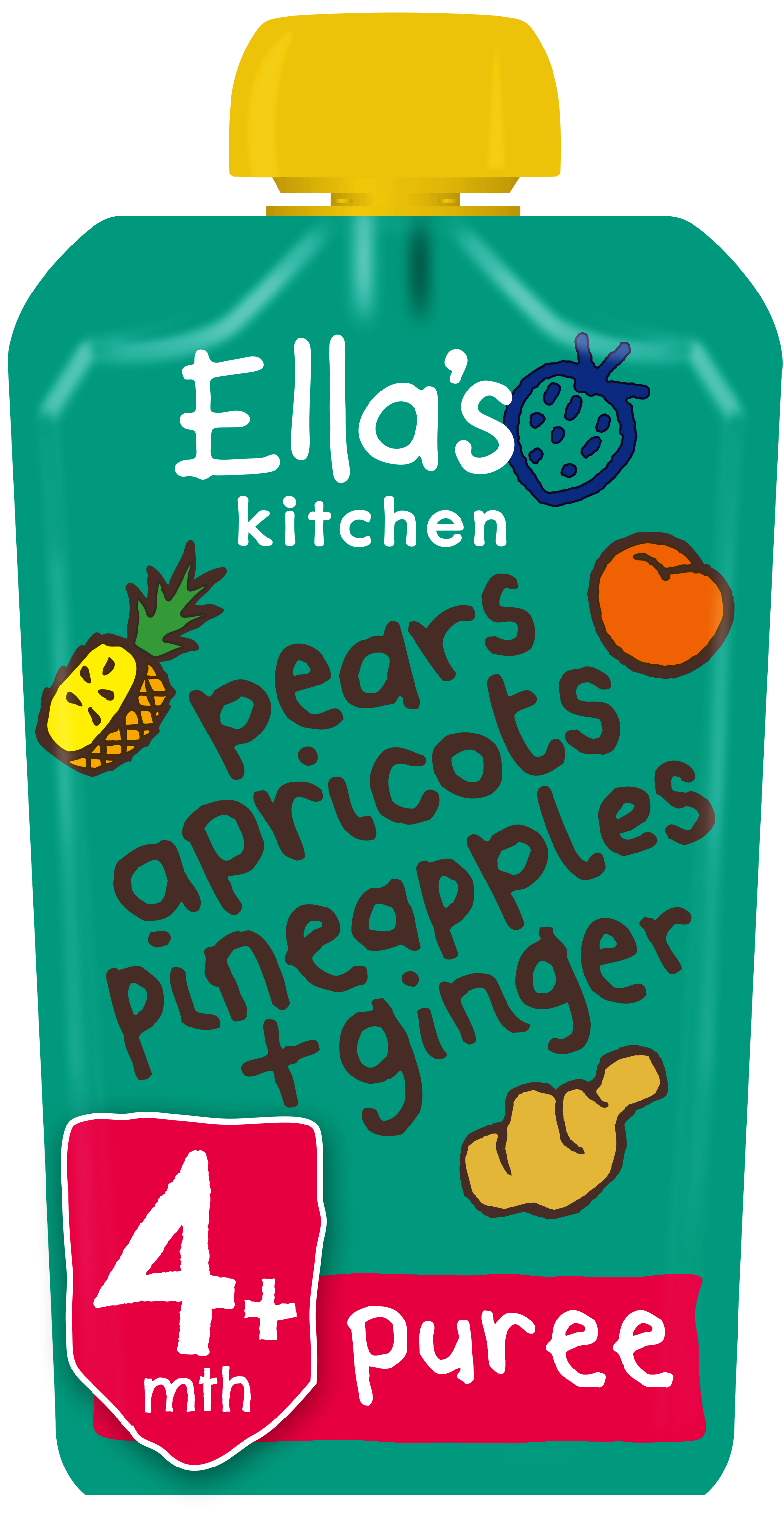 Ellas kitchen pears apricot pinapples ginger pouch Front of pack O