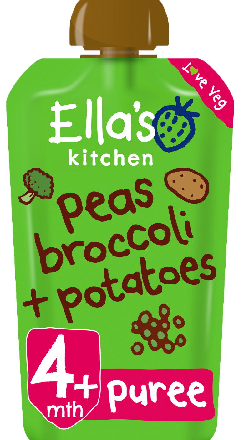 Ellas kitchen peas broccoli potatoes pouch front of pack O