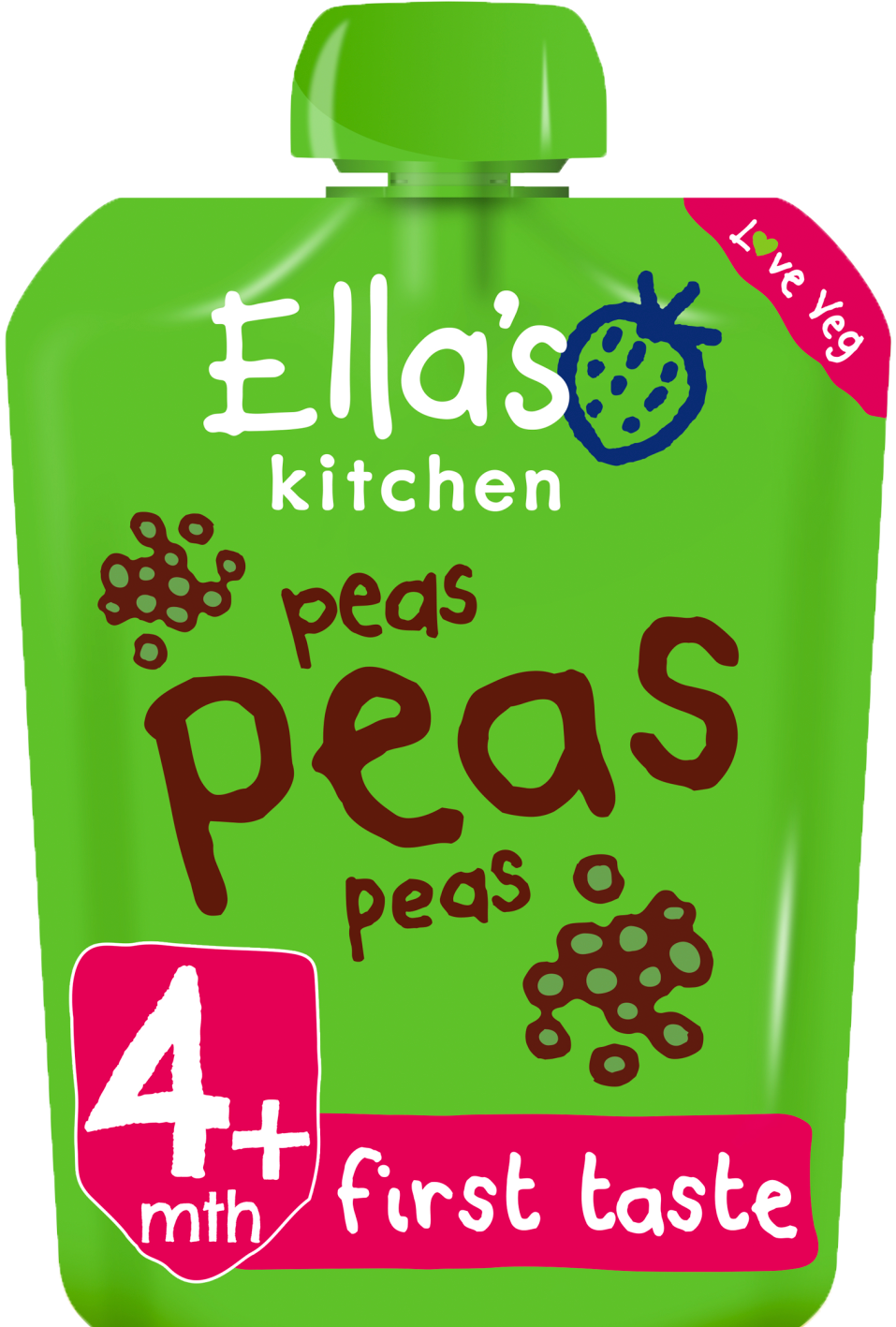 Ellas kitchen peas peas peas pouch front of pack O