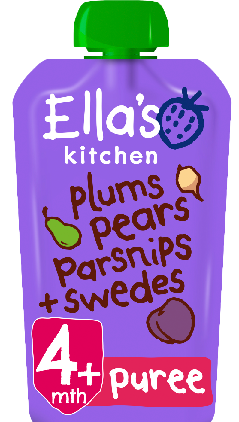 Ellas kitchen plums pears parsnips swedes pouch front of pack O