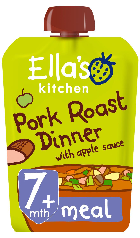 Ellas kitchen pork roast dinner apple sauce pouch 7 months front of pack O