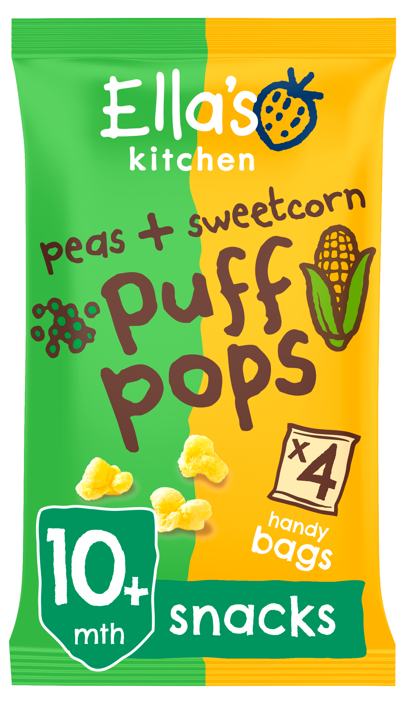Ellas kitchen puff pops peas sweetcorn bag front of pack O