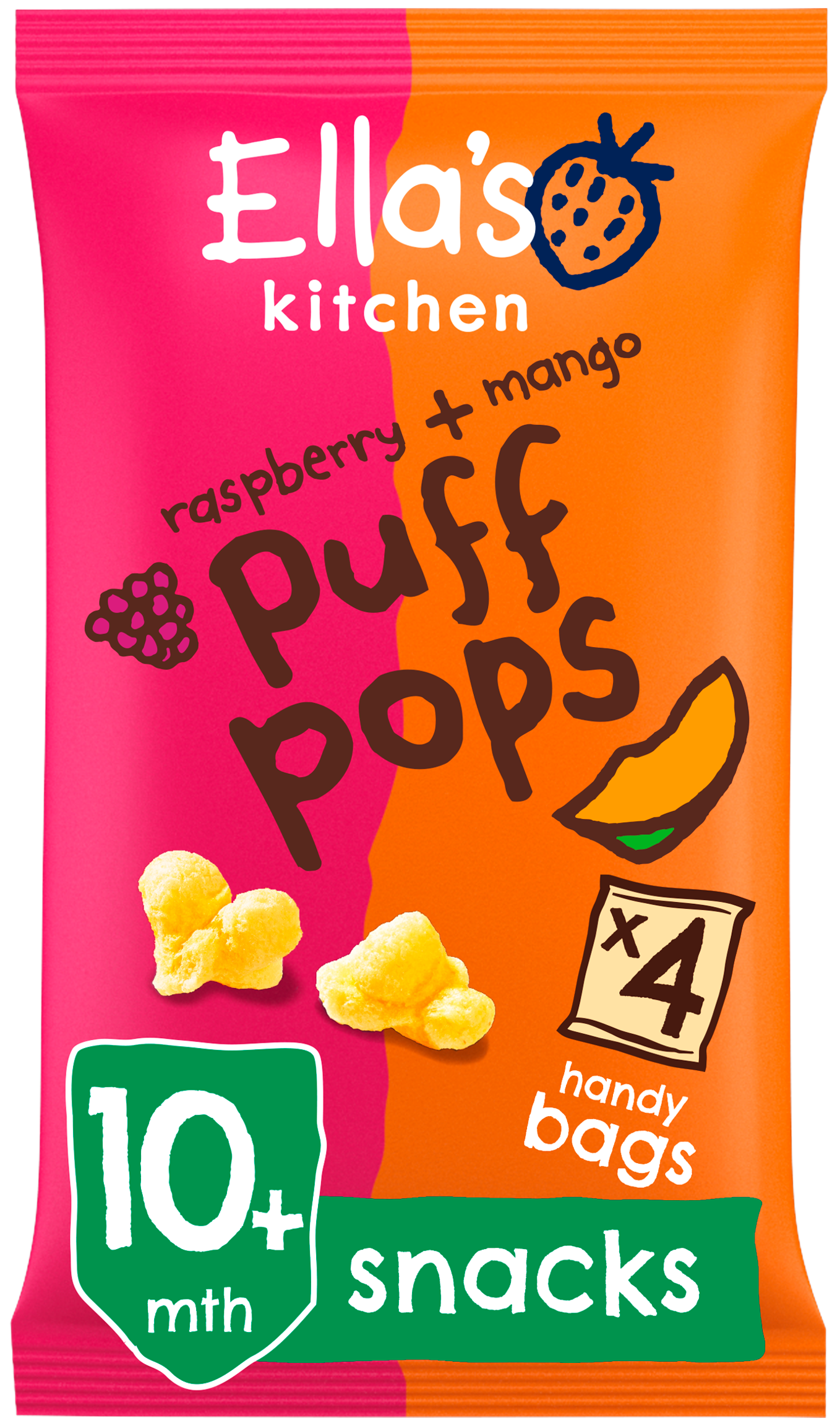 Ellas kitchen puff pops raspberry mango bag front of pack O
