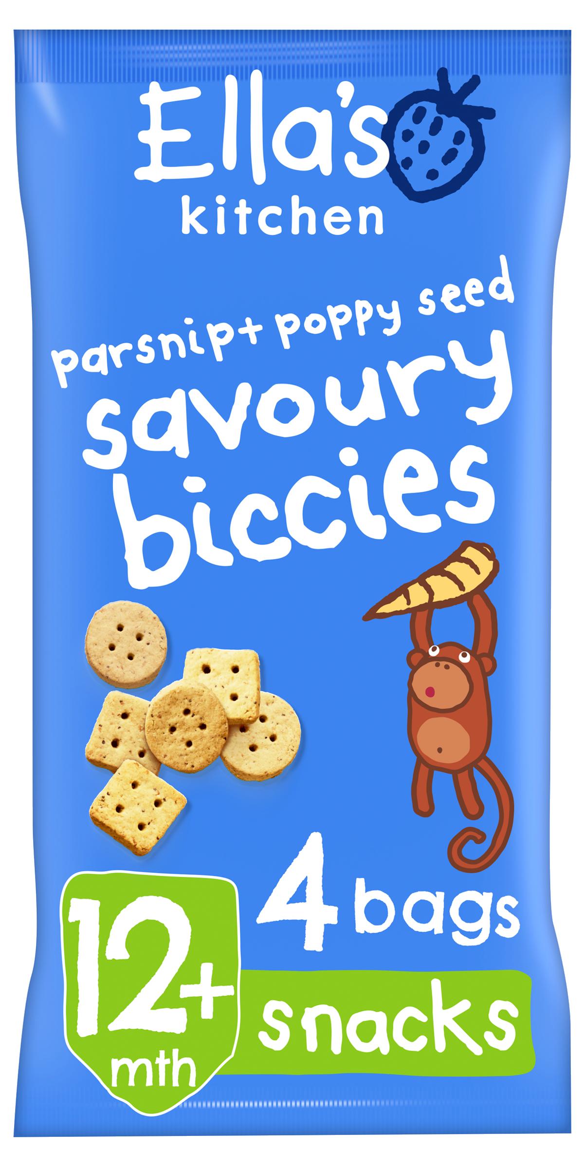 Ellas kitchen savoury biccies parsnip poppyseed bag front of pack O 3