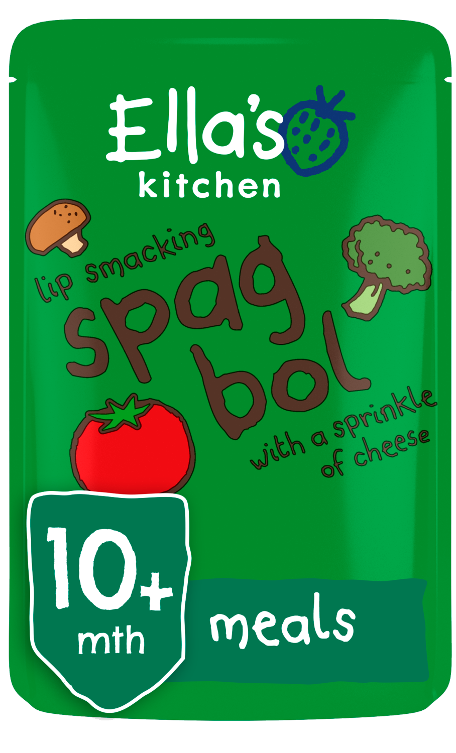 Ellas kitchen spag bol cheese pouch 10 months front of pack O