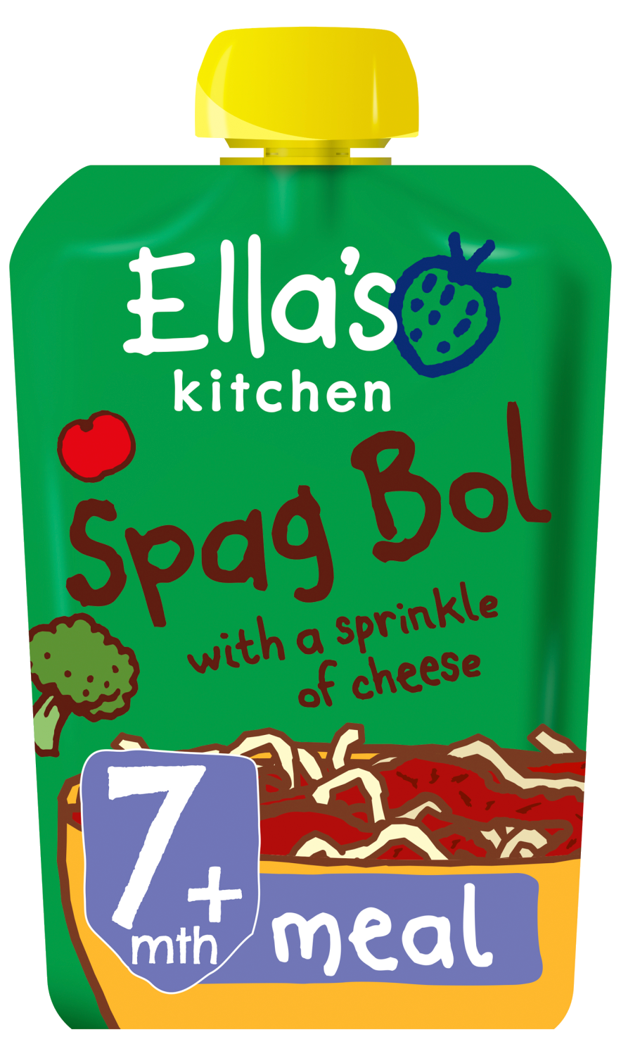 Ellas kitchen spag bol cheese pouch 7 months front of pack O